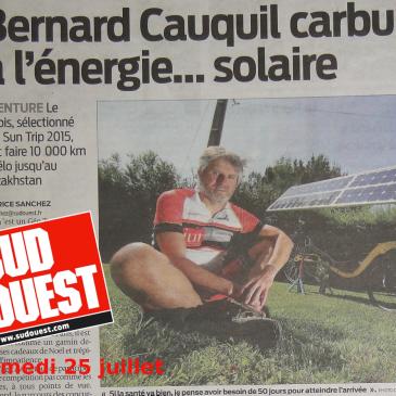 Dand le journal Sud Ouest : une pleine page sur la participation de Bernard Cauquil au SunTrip 2015